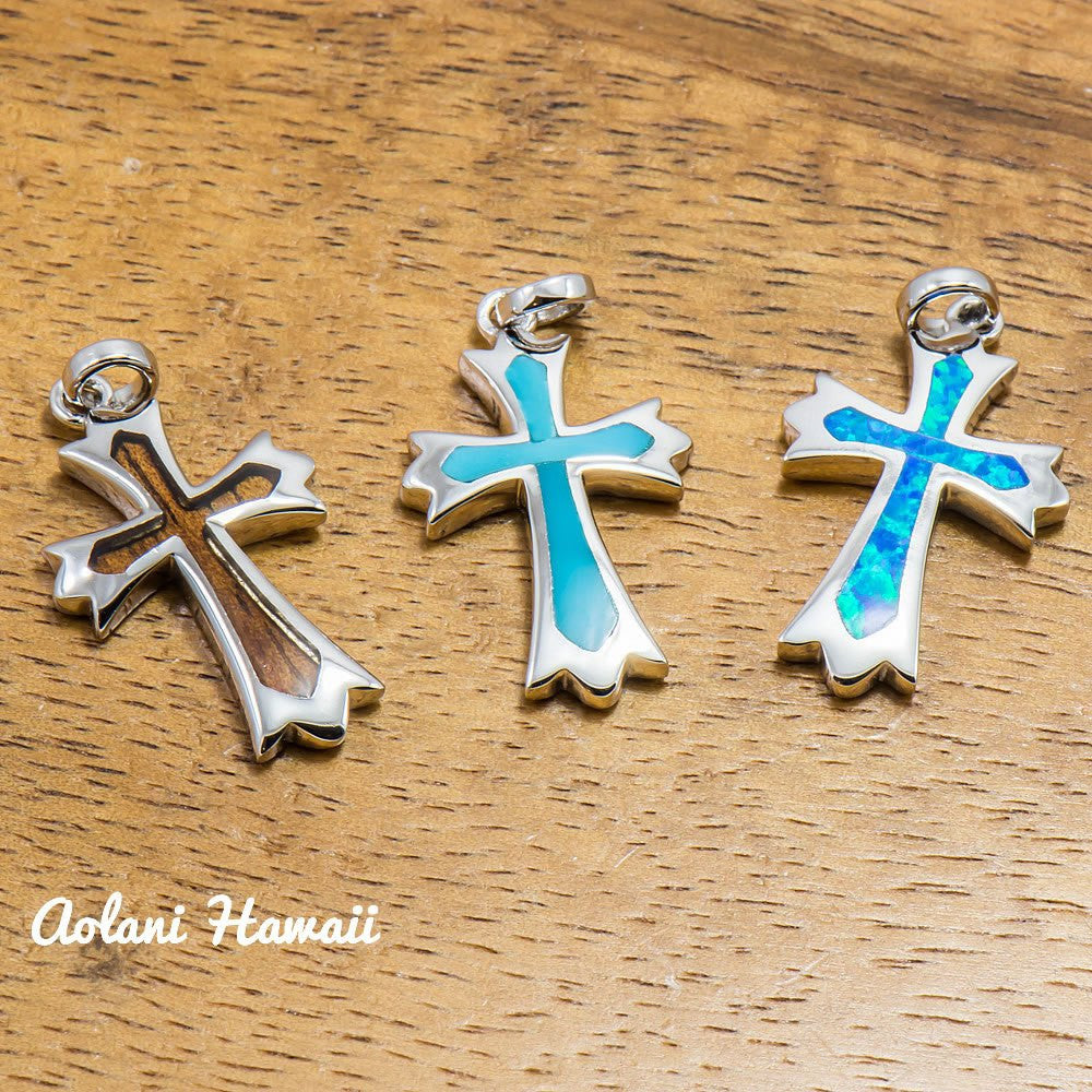 Koa Wood Cross Pendant Handmade with 925 Sterling Silver (12mm x 22mm FREE Stainless Chain Included) - Aolani Hawaii - 1