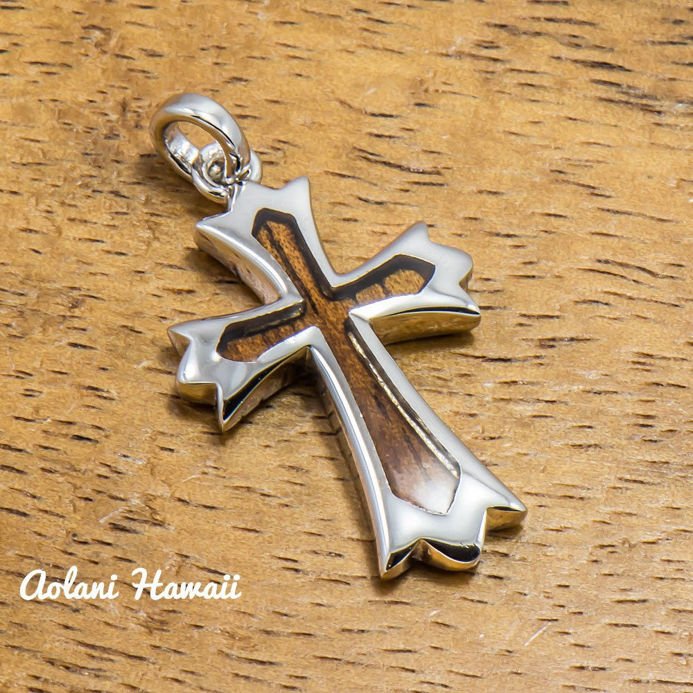 Koa Wood Cross Pendant Handmade with 925 Sterling Silver (23mm x 38mm FREE Stainless Chain Included) - Aolani Hawaii - 1
