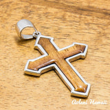 Koa Wood Cross Pendant Handmade with 925 Sterling Silver (30mm x 35mm FREE Stainless Chain Included) - Aolani Hawaii - 1