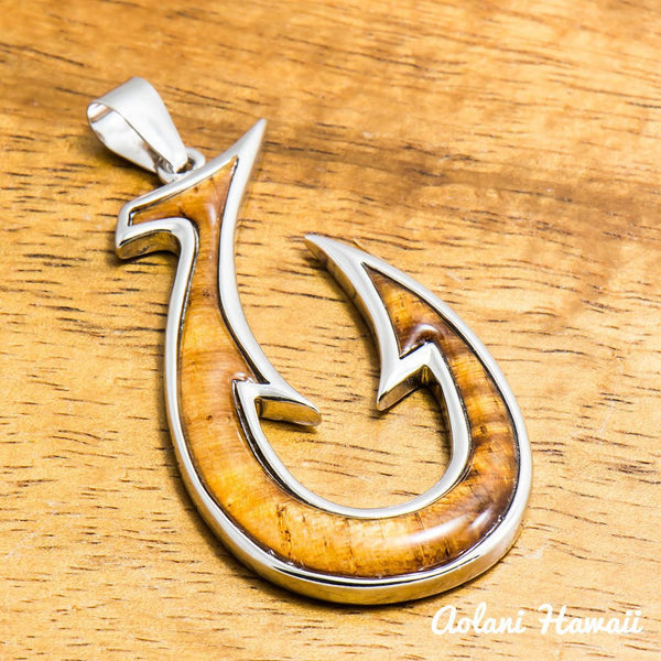 Koa Wood Fishhook Pendant Handmade with 925 Sterling Silver (20mm x 40mm FREE Stainless Chain Included) - Aolani Hawaii - 1