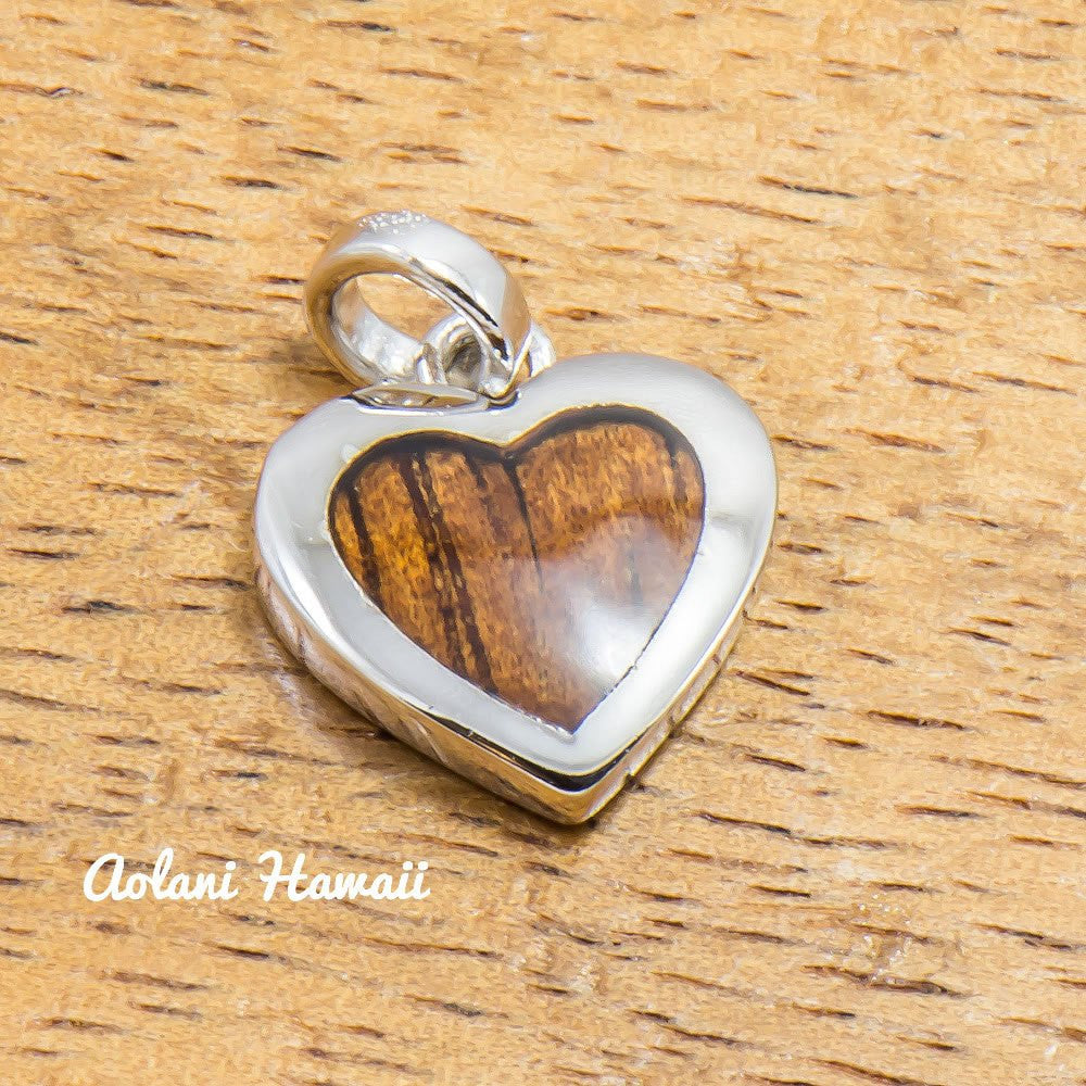 Koa Wood Heart Pendant Handmade with 925 Sterling Silver (10mm x 13mm FREE Stainless Chain Included) - Aolani Hawaii - 1