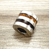 Koa Wood Stainless Steel Barrel Pendant (10mm, Free Metal Chain included) - Aolani Hawaii - 1