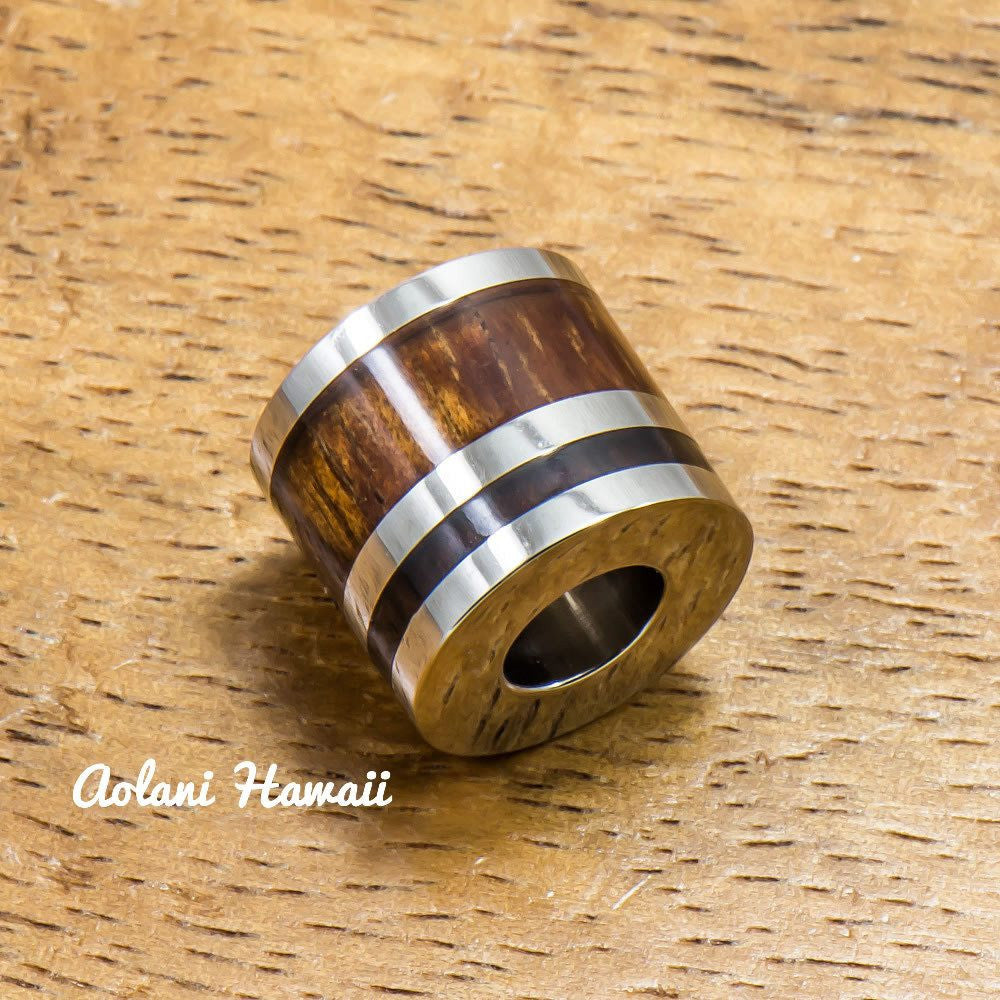 Koa Wood Stainless Steel Barrel Pendant (11mm, FREE Stainless Chain Included) - Aolani Hawaii - 1