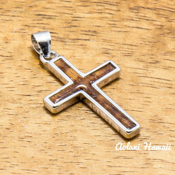 Silver Cross Pendant Handmade with 925 Sterling Silver with Koa wood inlay (20mm x 22mm FREE Stainless Chain Included) - Aolani Hawaii - 1