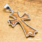 Silver Koa Wood Pendant Handmade with 925 Sterling Silver (23mm x 40mm FREE Stainless Chain Included) - Aolani Hawaii - 1