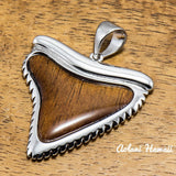 Sterling Shark Tooth Pendant Handmade with 925 Sterling Silver (35mm x 40mm FREE Stainless Chain Included) - Aolani Hawaii - 1