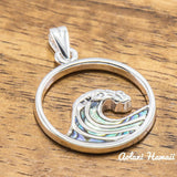Sterling Silver Ocean Wave Pendant with Abalone Inlay (20mm x 20mm FREE Stainless Chain Included) - Aolani Hawaii - 1