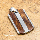 Tungsten Carbide Pendant handmade with Koa Wood (18mmX28mm, FREE Stainless Chain Included) - Aolani Hawaii - 1