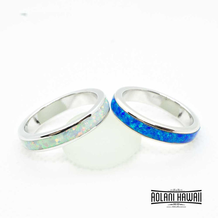 Sterling Silver Ring with Blue White Opal Inlay (4mm Flat Shape)