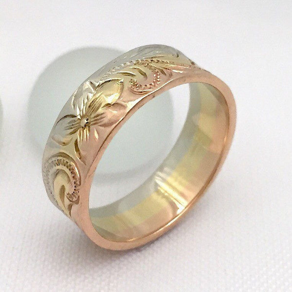 14K Gold Ring Traditional Hawaiian Hand Engraved (6mm Width, Flat Style) - Aolani Hawaii - 2