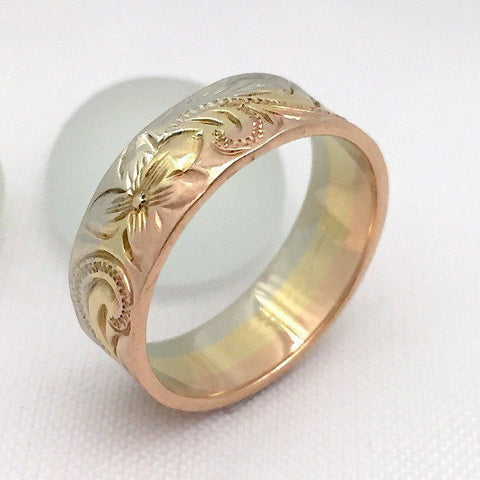 14K Gold Ring Traditional Hawaiian Hand Engraved (6mm Width, Flat Style) - Aolani Hawaii - 3