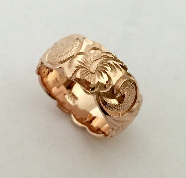 14K Gold Traditional Hawaiian Ring (8mm Barrel) - Aolani Hawaii - 2