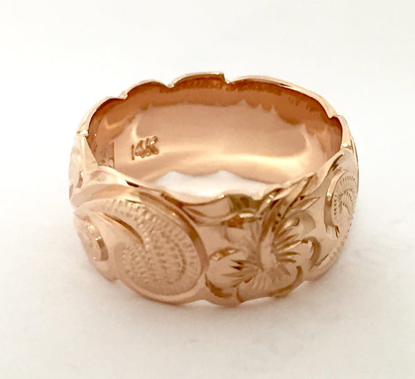 14K Gold Traditional Hawaiian Ring (8mm Barrel) - Aolani Hawaii - 3