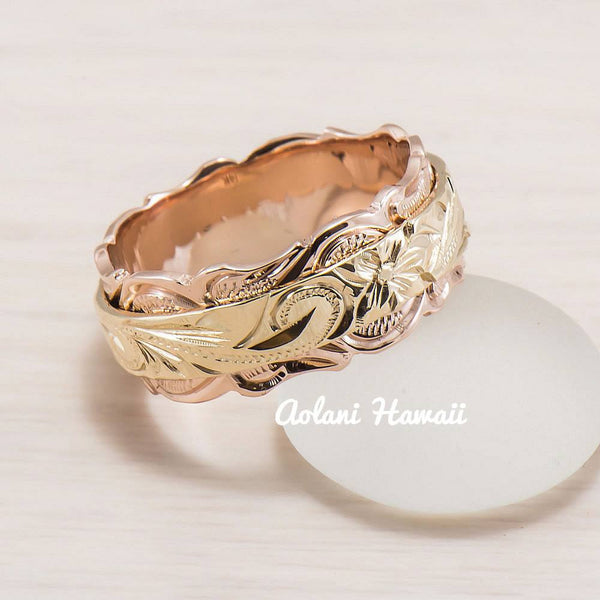 14K Gold Traditional Hawaiian Two Tone Ring ( 8mm x 4mm Flat ) - Aolani Hawaii - 1