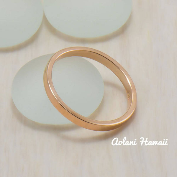 14k Gold Wedding Rings (2mm width, Flat style) - Aolani Hawaii - 2