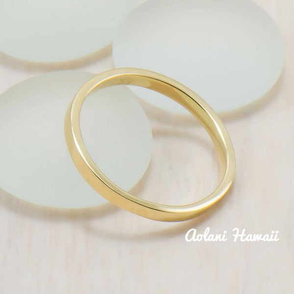 14k Gold Wedding Rings (2mm width, Flat style) - Aolani Hawaii - 3