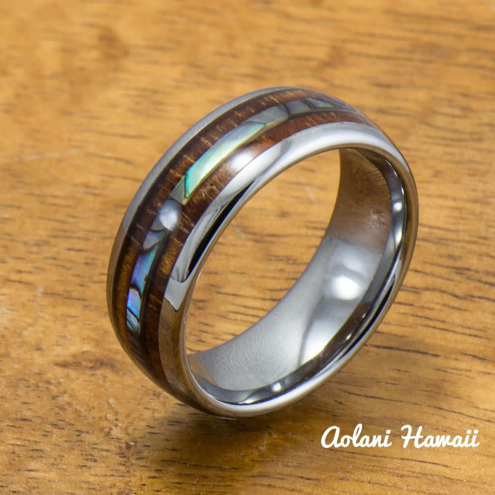 Tungsten abalone wedding band set with mother of pearl for Hawaiian wedding ring sets
