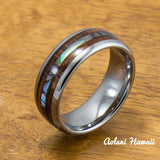 Tungsten Wedding Band Set with Mother of Pearl Abalone and Koa Wood Inlay (6mm - 8mm Width) - Aolani Hawaii - 2