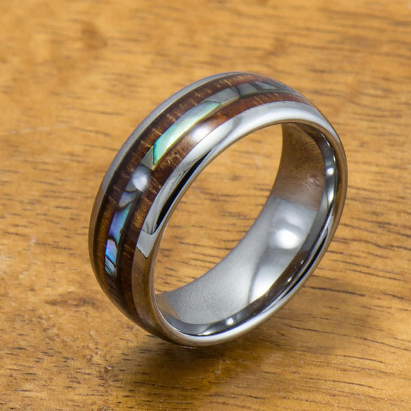 Abalone and Koa Wood Inlay Tungsten Ring (6mm - 8mm Width, Barrel style)