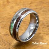 Abalone and Koa Wood Inlay Tungsten Ring (6mm - 8mm Width, Barrel style) - Aolani Hawaii - 1