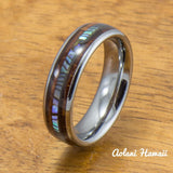 Tungsten Wedding Band Set with Mother of Pearl Abalone and Koa Wood Inlay (6mm - 8mm Width) - Aolani Hawaii - 3