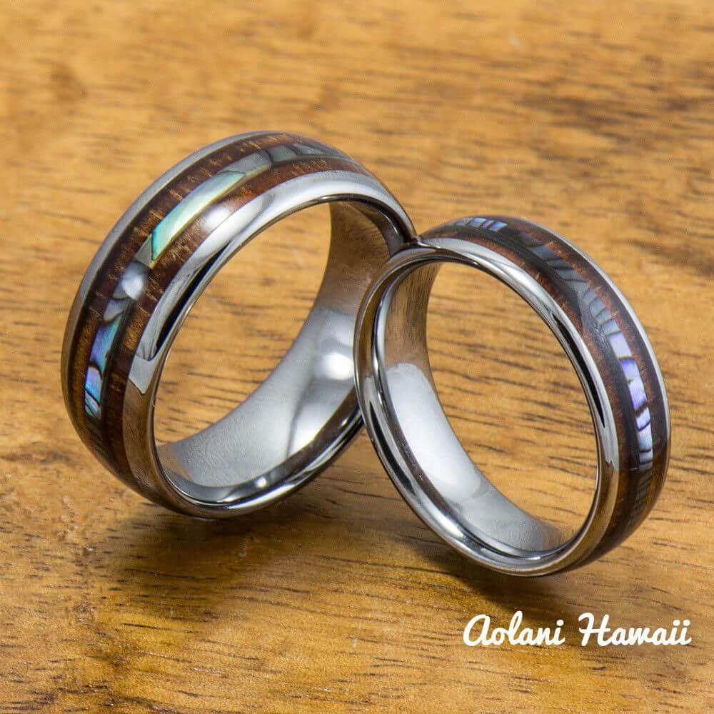 Tungsten Wedding Band Set with Mother of Pearl Abalone and Koa