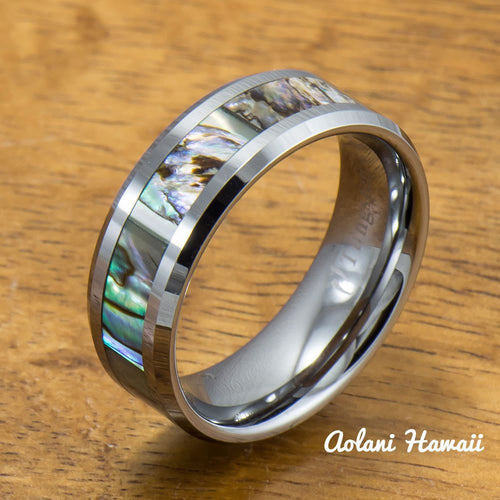 Abalone Inlay Tungsten Ring (5mm - 8mm Width, Flat style) - Aolani Hawaii - 1