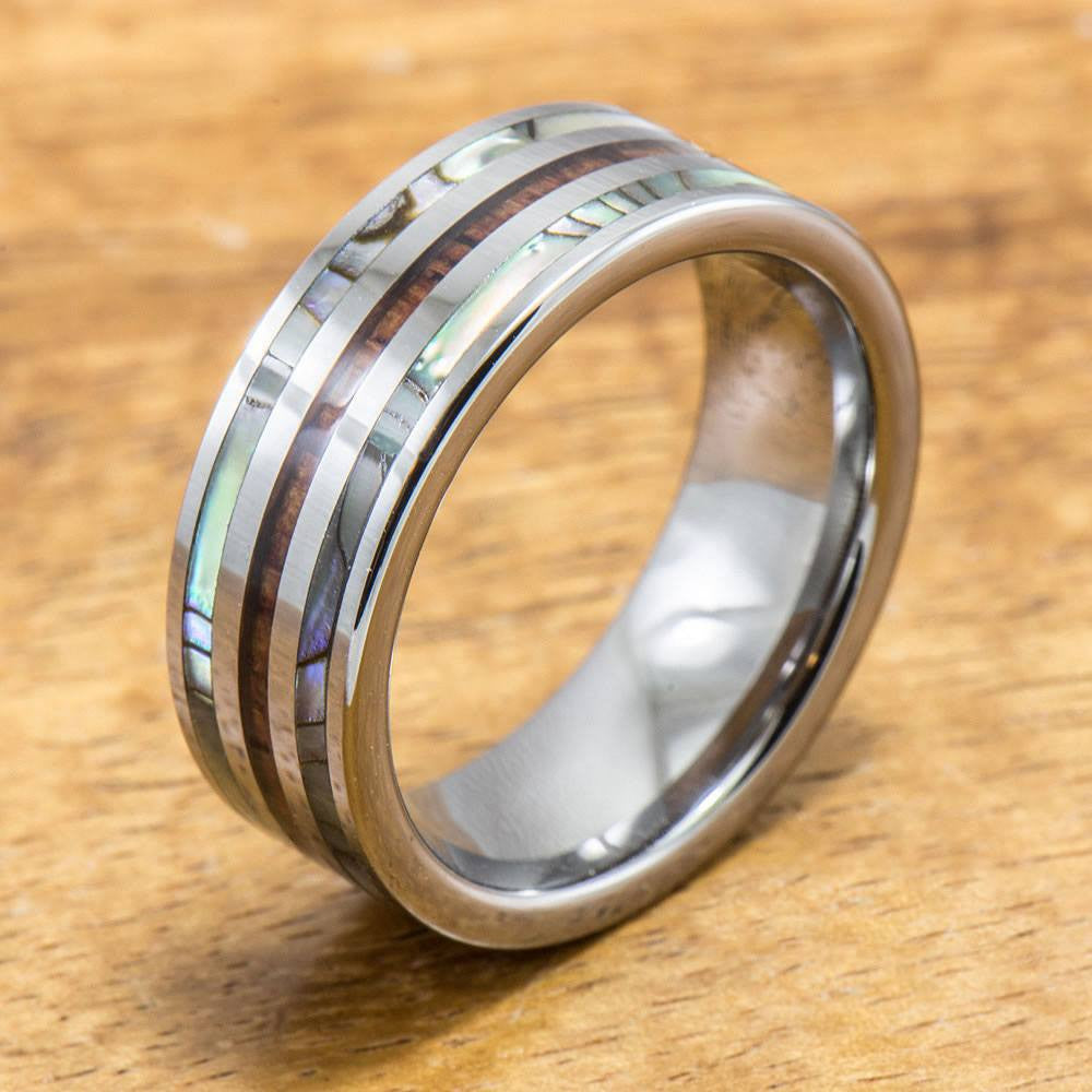 Abalone Ring with Made with Tungsten and Koa Wood Inlay (8mm Width, Flat style)