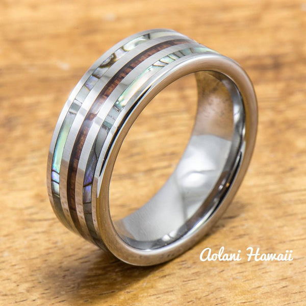 Abalone Ring with Made with Tungsten and Koa Wood Inlay (8mm Width, Flat style) - Aolani Hawaii