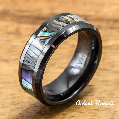 Black Ceramic Ring with Abalone Inlay (8 mm width, Flat Style) - Aolani Hawaii - 1
