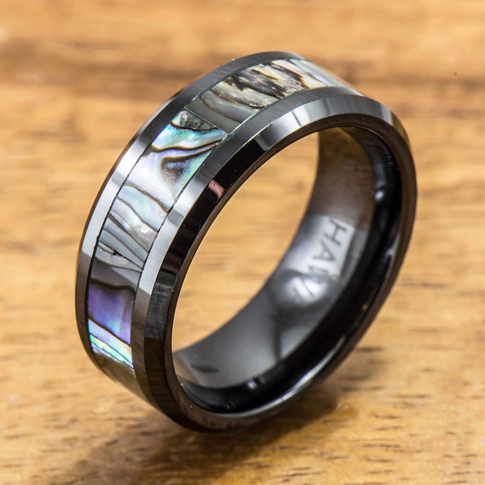 Black Ceramic Ring with Abalone Inlay (8 mm width, Flat Style)