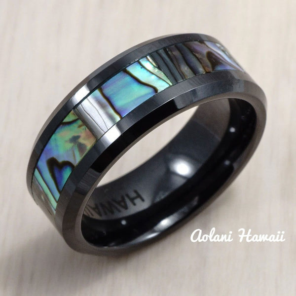 Black Ceramic Ring with Abalone Inlay (8 mm width, Flat Style) - Aolani Hawaii - 2