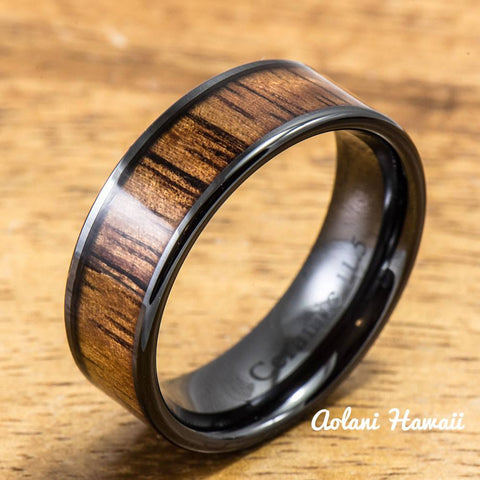 Black Ceramic Ring with Hawaiian Koa Wood (4mm - 8 mm width, Flat Style)