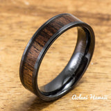 Wedding Band Set of Ceramic Rings with Hawaiian Koa Wood Inlay (6mm & 8mm width, Flat Style ) - Aolani Hawaii - 3