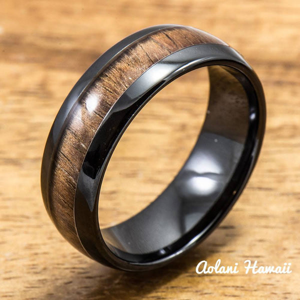 Black Wedding Ring Set - Black Ceramic Ring with Koa Wood Inlay (4mm & 8 mm width, Barrel Style) - Aolani Hawaii - 2