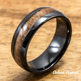 Black Ceramic Ring with Koa Wood Inlay (4mm - 8 mm width, Barrel Style) - Aolani Hawaii - 1