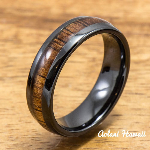 Wedding Ring Set - Black Ceramic Ring with Koa Wood Inlay (6mm & 8 mm width, Barrel Style) - Aolani Hawaii - 3