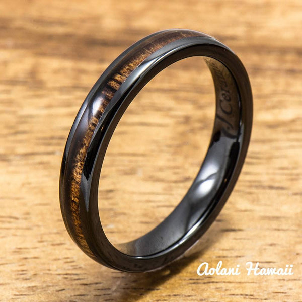Black Ceramic Ring with Koa Wood Inlay (4mm - 8 mm width, Barrel Style) - Aolani Hawaii - 3