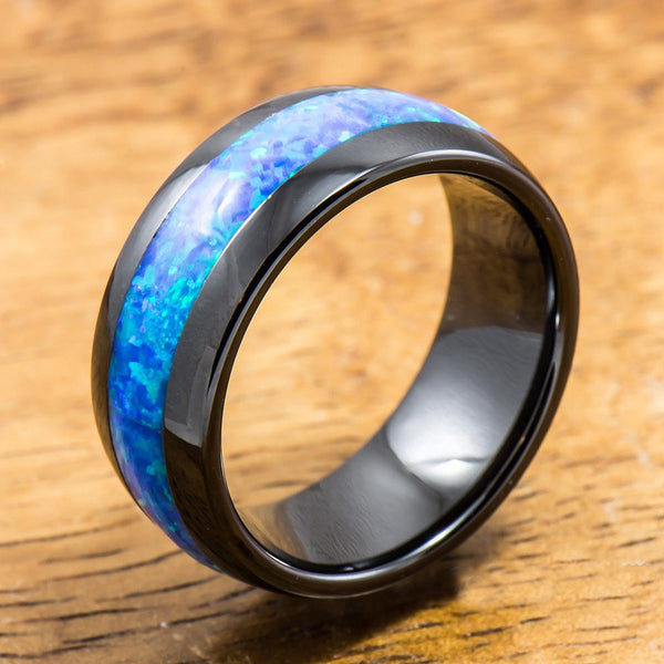 Black Ceramic Ring with Opal Inlay (8mm Width, Barrel Shape Style, Comfort Fitment)