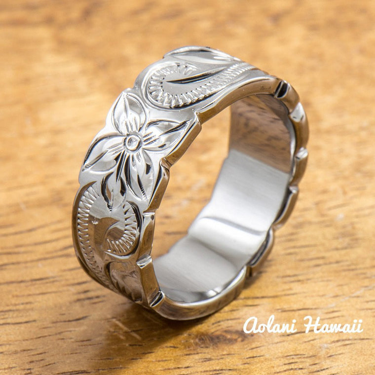 Black Rhodium Sterling Silver Ring Hand engraved Hawaiian Designs (4mm - 8mm width, Flat Cutout)