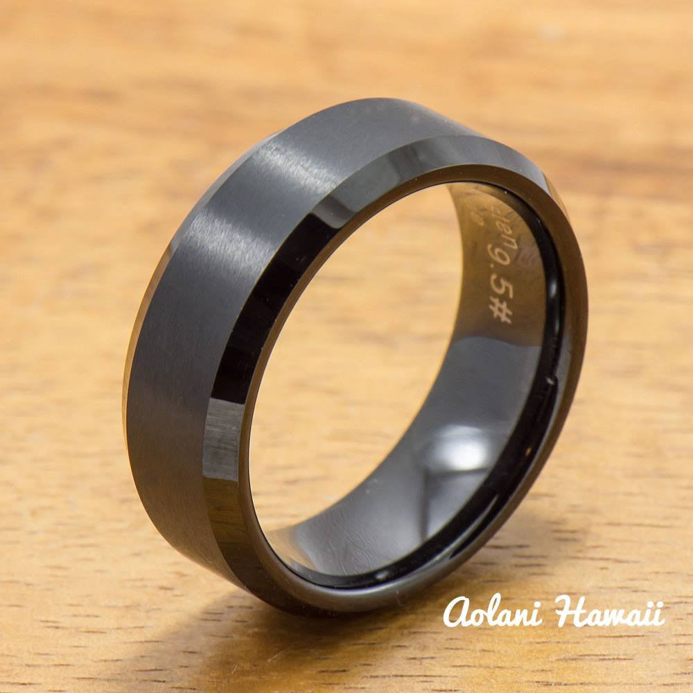 Black Tungsten Ring with Brushed Satin Center Inlay (6mm - 8mm width, Flat style) - Aolani Hawaii - 1
