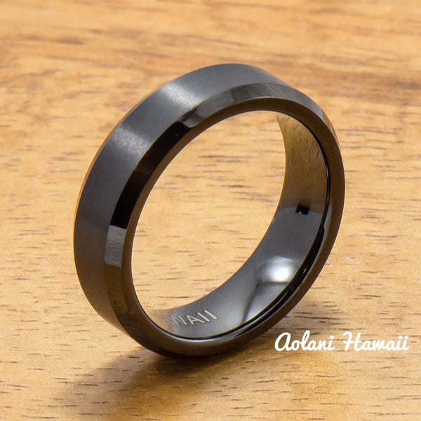 Black Tungsten Ring with Brushed Satin Center Inlay (6mm - 8mm width, Flat style) - Aolani Hawaii - 2