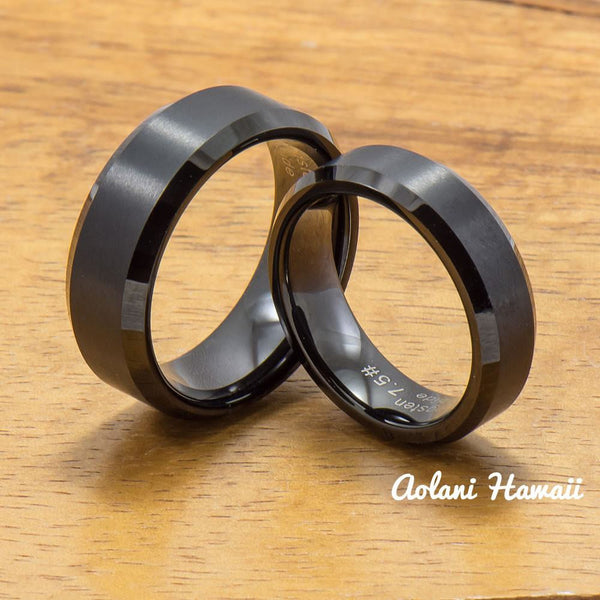 Black Tungsten Ring with Brushed Satin Center Inlay (6mm - 8mm width, Flat style) - Aolani Hawaii - 3