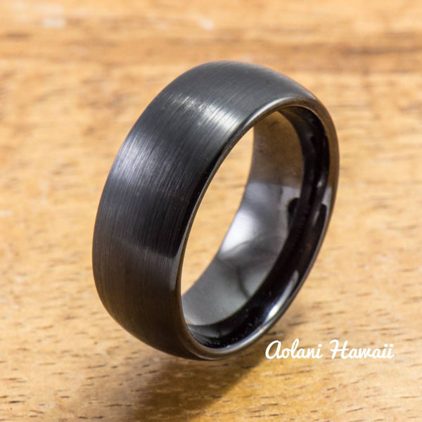 Black Tungsten Ring with Brushed Satin Surface( 8mm width, Barrel style) - Aolani Hawaii