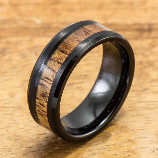 Black Tungsten Ring with Hawaiian Koa Wood Inlay (8mm width, Flat style)