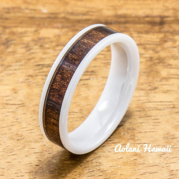 Ceramic Ring Wedding Ring with Koa Wood (4mm - 8 mm width, Flat Style) - Aolani Hawaii - 2