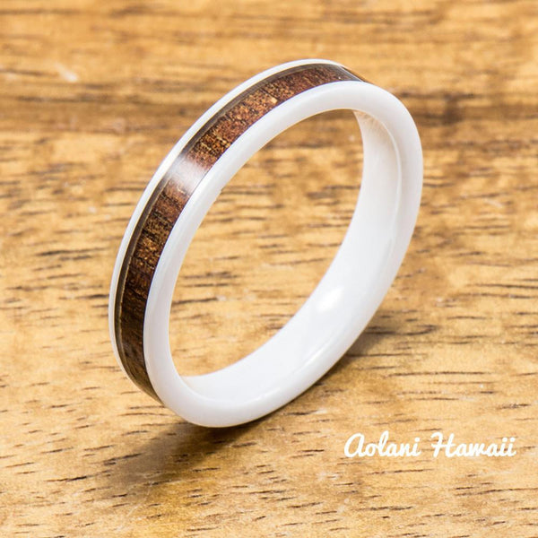 Wedding Band Set of Ceramic Rings with Hawaiian Koa Wood Inlay (4mm & 6mm width, Flat Style ) - Aolani Hawaii - 3
