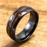 Ceramic Ring with Hawaiian Koa Wood (6mm - 8 mm width, Barrel Style) - Aolani Hawaii - 1
