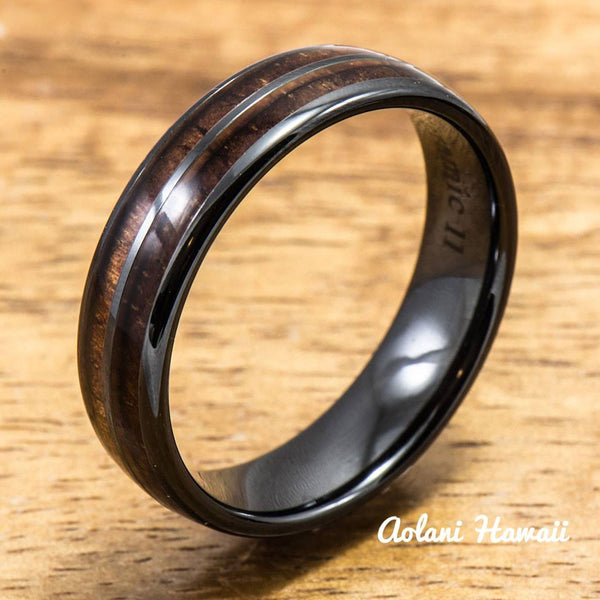 Ceramic Ring with Hawaiian Koa Wood (6mm - 8 mm width, Barrel Style) - Aolani Hawaii - 2