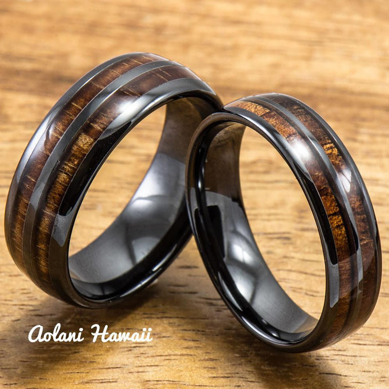 Ceramic Wedding Ring Set - Ceramic Ring with Hawaiian Koa Wood (6mm & 8 mm width, Barrel Style)